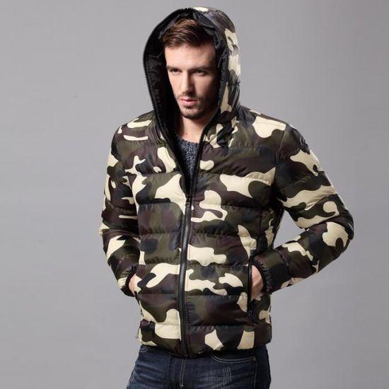 Pour Hommes Camouflage Capuche Parka À Épaisse 86qPwfAqRT