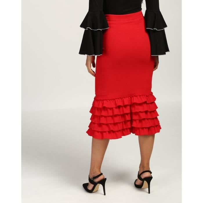 Trendtwo Rouge Joyce Frilled Femmes Jupe mi-longue Rouge Ruffle Georgette Midi Jupe crayon WB3NI Taille-30