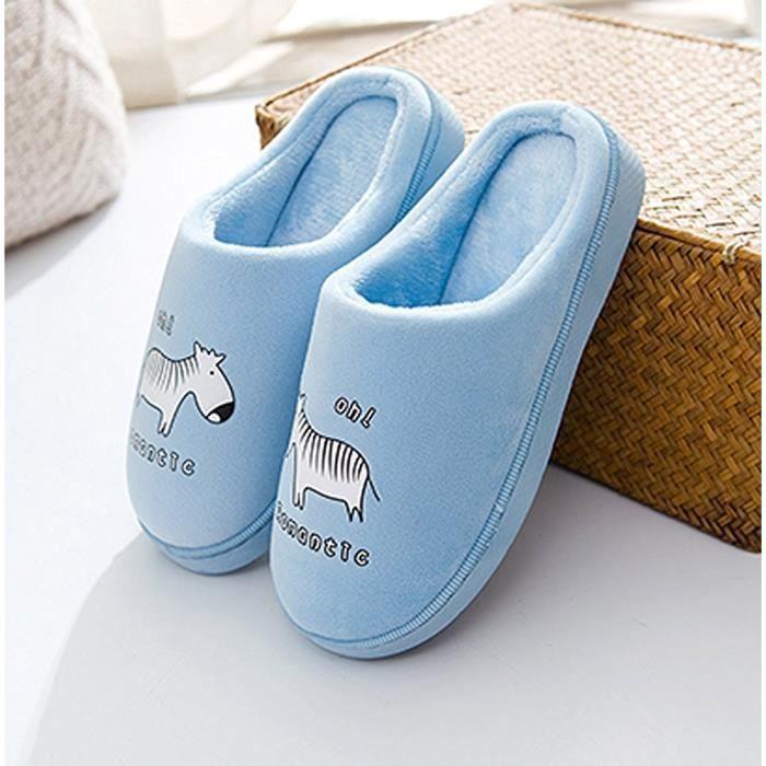 Sidneyki®Pantoufles chaudes d'intérieur de rayure d'hiver de femmes chaussures souples anti-dérapantes à la maison RDcafé XKO446 WqyZN1g5eA