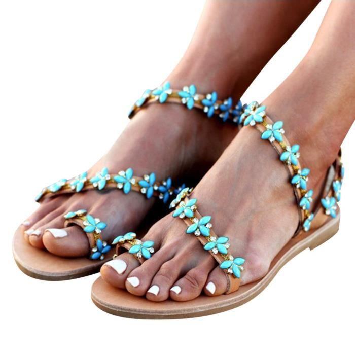 Talon Femmes D'été Cristal Chaussures Flops Sandales Main PlageVert Plat Flip DEIYeH9bW2
