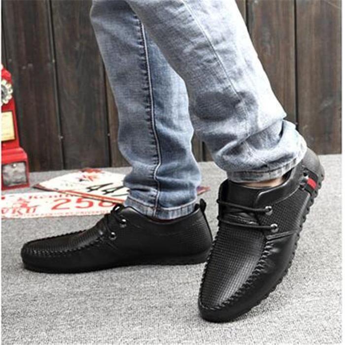 Moccasins Homme Confortable Respirant Chaussures Confortable Classique De Marque De Luxe chaussure 2017 cuir Plus Taille LN0W8