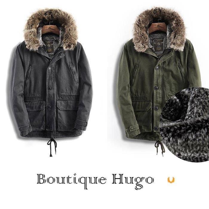 Militaire hiver mi Capuche Boutique longue Hugo Automne Casual Fausse En Homme Molleton Manteau Fourrure Coton qtqT1xw6Z