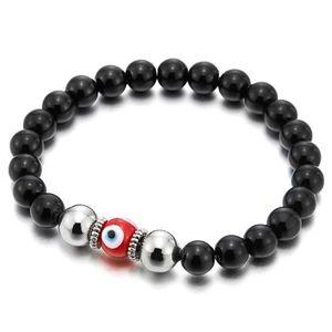 Perles bracelet de perle noire mat de femmes avec verre d