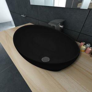 LAVABO - VASQUE Vasque céramique moderne 40 x 33 cm (Noir) Maja+