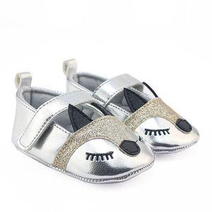 BOTTE Nouveau-né Infantile Bébé Filles Fox Motif Crib Chaussures Souple Anti-slip Sneakers@ArgentHM Iuw4x