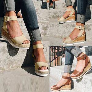 Ouvertes Cheville Romaines Compensées Sandales Plateforme La Mode Marron Rétro Dames Devant Femmes Chaussures y7mbgvIfY6