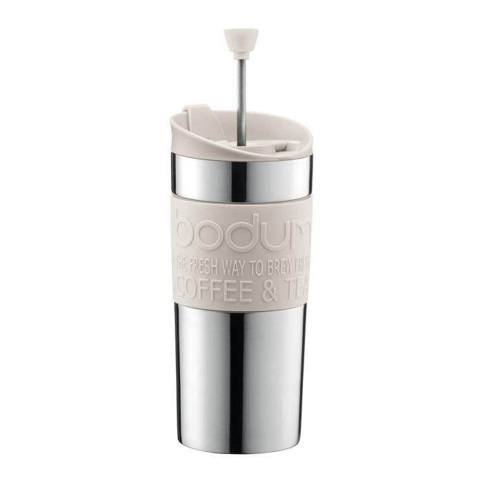 BODUM TRAVEL PRESS Mug à piston en inox double paroi 0.35 l Blanc Crème