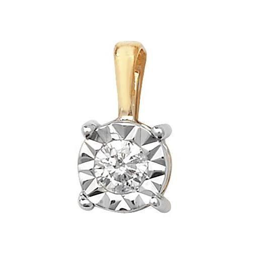 Pendentif Femme Or 375-1000 et Diamant Brillant 0.10 Carat H - I1 - 10mm*5mm 29514