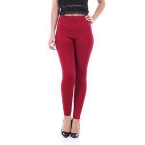 legging thermique chaud pantalon collant panty rouge bordeaux polaire hiver  ski S M femme 2bbb8ad6a80
