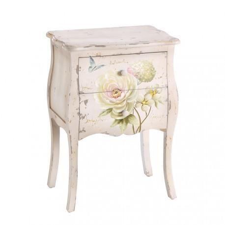 chevet table de chevet romantique fleurs blanc vieilli
