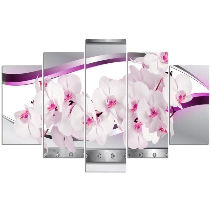 tableau d co multi panneaux 100x150 orchidee blanche rose achat vente tableau toile. Black Bedroom Furniture Sets. Home Design Ideas