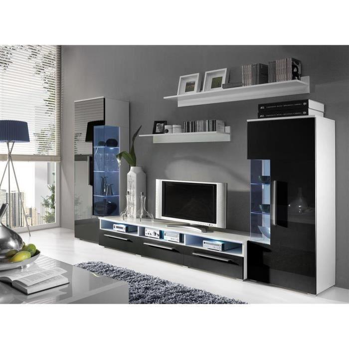 JUSThome ROMA Ensemble de meubles de salon Couleur: Blanc Mat / Noir ...