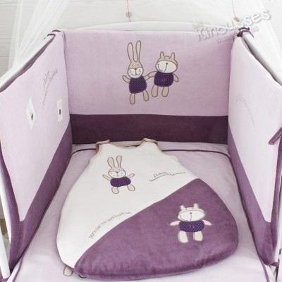 tour de lit violet bébé Pack promo 3 pièces Eléano…   Achat / Vente tour de lit bébé  tour de lit violet bébé