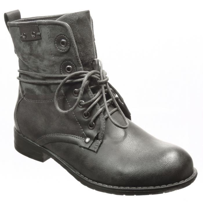 angkorly chaussure mode bottine rangers femme lacets clout talon bloc 3 cm int rieur. Black Bedroom Furniture Sets. Home Design Ideas