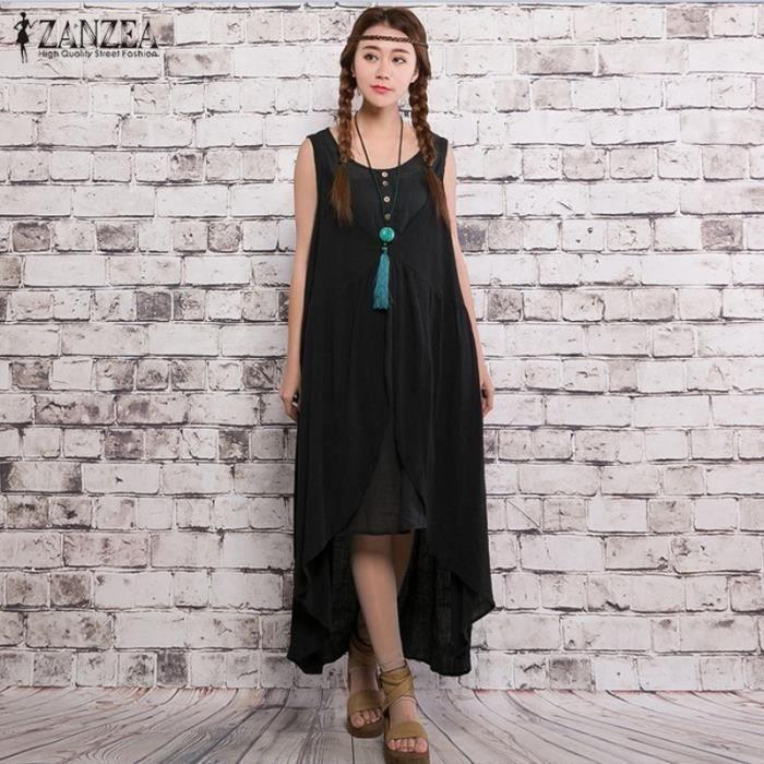 ZANZEA Robe Longue Femme Retro Asymmetric Kaftan Rond Col Sans manches