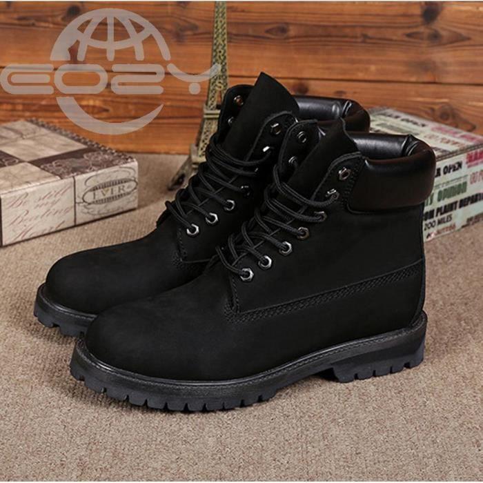 EOZY Mode Boots Bottine Homme Garçon Chaud Hiver Noir