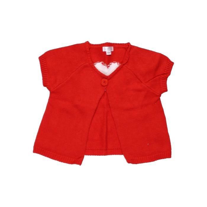 Gilet bébé fille BRIOCHE 12 mois rouge hiver - vêtement bébé  1053688 f9a37194e15