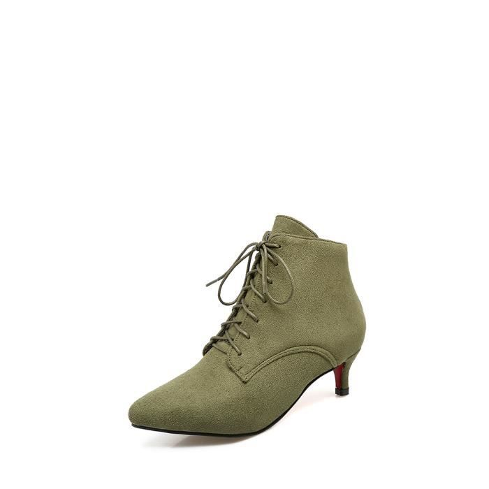 Bottes de femme Couleur unie lacent cheville sélectionl Comfy Chaussures bout pointu talon mince 9749212