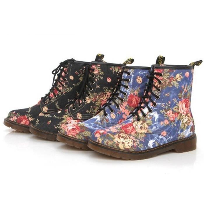 Femmes Dames Doux Plat Cheville Floral Print Martin Chaussures Femme Lace-Up Bottes LMH71205552_1001
