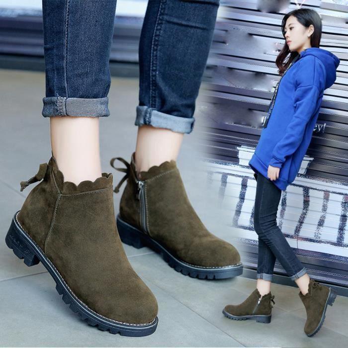 Boots Bottes Femme Homme Chaussures Talons Huats en Suède Chaud Rétro Martin de bottes Autumne-Hiver Vert Vert - Achat / Vente botte  - Soldes* dès le 27 juin ! Cdiscount