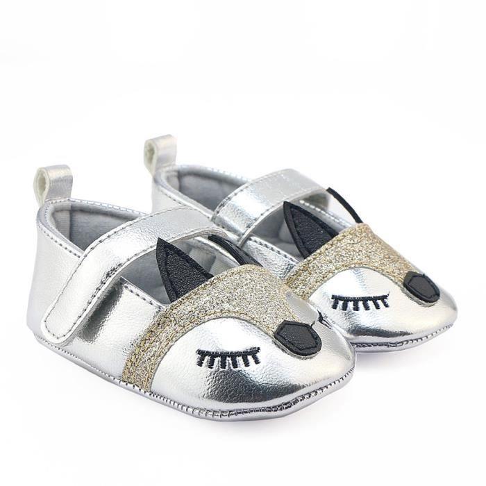 BOTTE Nouveau-né Infantile Bébé Filles Fox Motif Crib Chaussures Souple Anti-slip Sneakers@ArgentHM