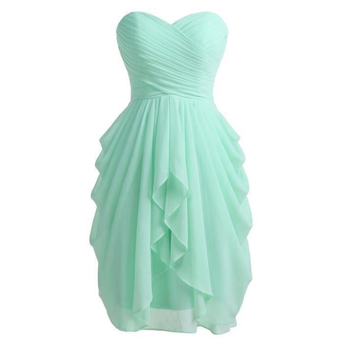 c5b1e2046f1fbd Dressystar Robe de soirée-bal courte,de demoiselle d'honneur bustier en  Mousseline,lacet en dos