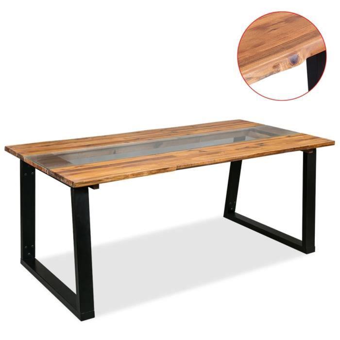 Table De Salle à Manger Bois Du0027acacia Et Verre 180 X 90 X 75 Cm