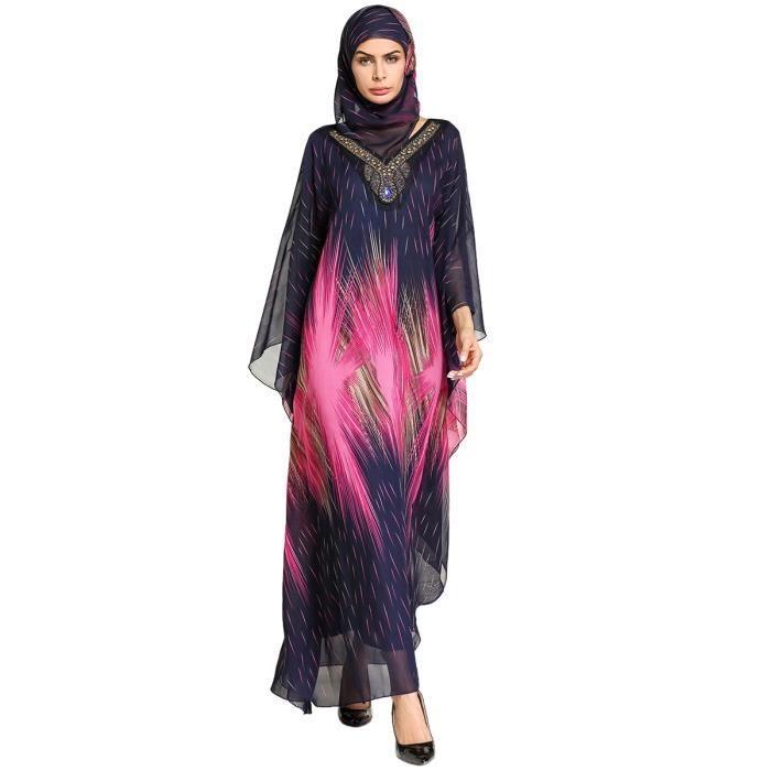 Robe dimpression en O-cou en mousseline de soie a manches longue musulman rose et jaune pour les Femmes avec foulard Robe Ramadan