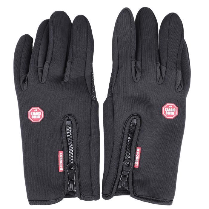 1 Paire Velo Velo Moto Gants Plein Doigt Sports de Plein Air Snowboard Ski Gants Coupe-Vent Garder Chaud Ecran Tactile noir