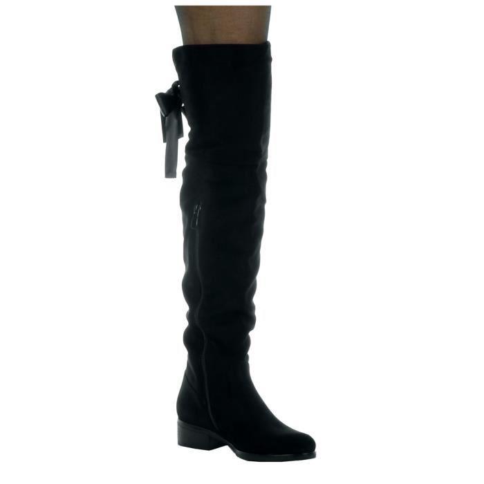 Angkorly - Chaussure Mode Cuissarde cavalier souple femme Lacet ruban satin Talon haut bloc 3.5 CM - Intérieur Fourrée - Noir -