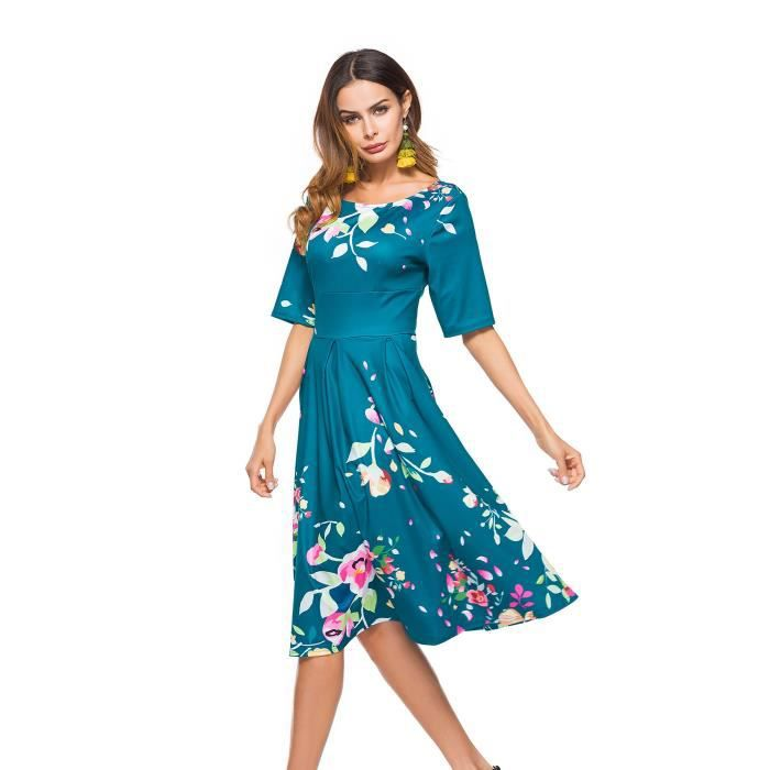 Womens Vintage 1950s 3-4 Sleeve Floral Print Casual Cocktail Swing Dress 2XG480 Taille-36