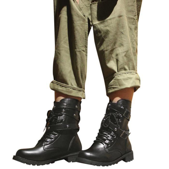 Boucle Martin Chaussures Cuir Mode Bout Boot Bracelet Féminine Noir Bottes Casual Rond Plat qIzBwI