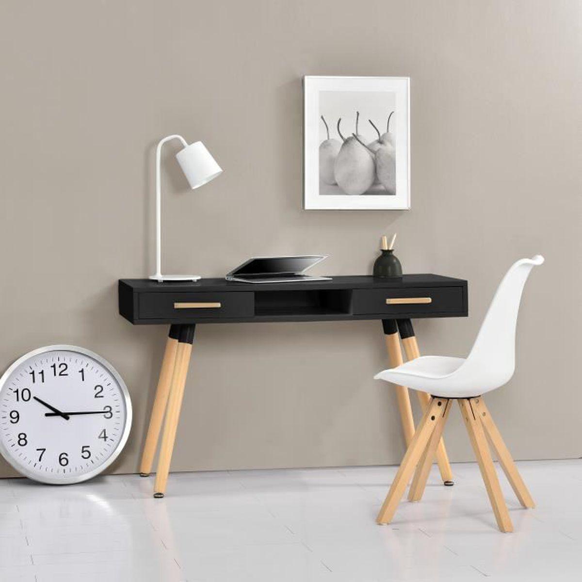 bureau rtro 75x120x45cm noir mat laqu tiroir avec chaise blanc