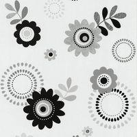 P&S International papier peint motif rétro hippie fleurs gris et blanc