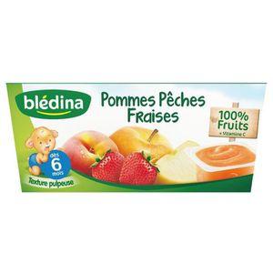 BLEDINA Purée de fruits Pomme p?ches fraises - 4x100 g- D?s 6 mois