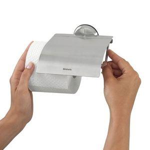 SERVITEUR WC Porte-rouleau de papier toilette RVS avec couve…