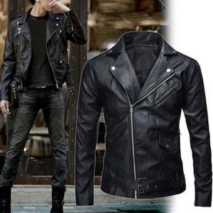 BLOUSON Veste Moto Homme en PU Cuir Blouson Jacket Manche