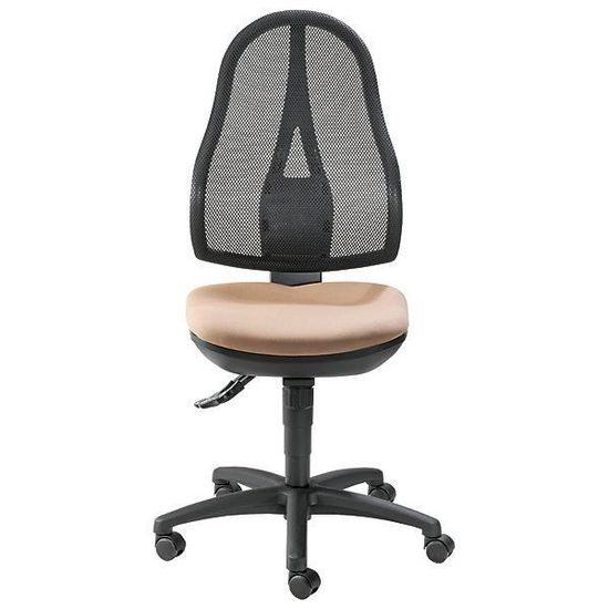 Royaume-Uni disponibilité a7679 51887 Topstar Siège de bureau, mécanisme synchrone et assise ergonomique - sans  accoudoirs, dossier en résille noire habillage marron