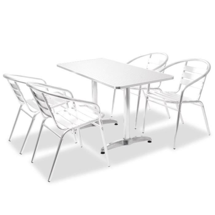 Table 5 Pièces Ensemble Chaises Bar Jardin Et Balcon Aluminium En VqSUzMp