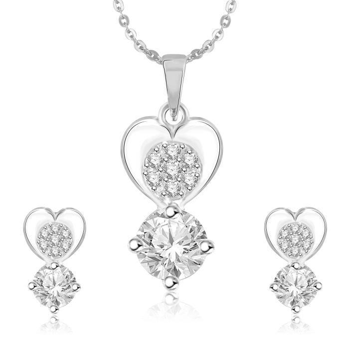 Pendentif femme Set pour et boucles doreilles en diamant plaqué argent américain Cz Pt206 TZ2XN