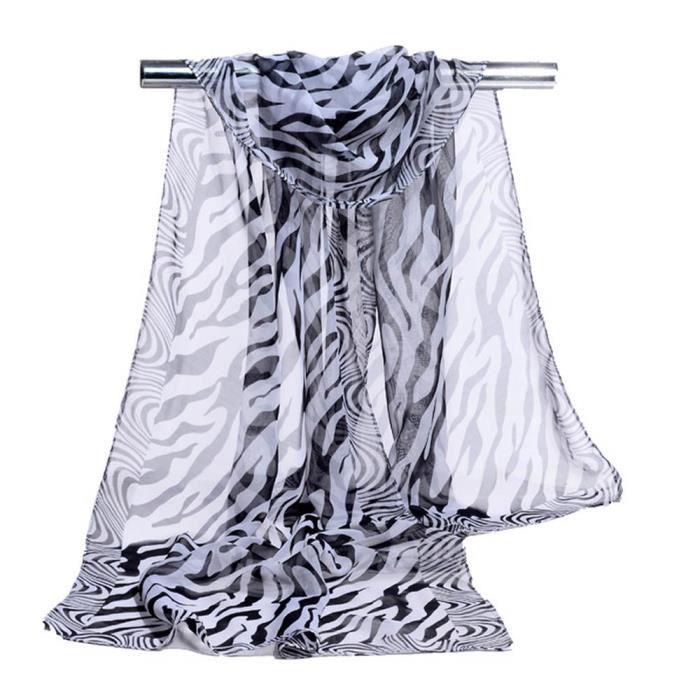 e32166e711ae Benjanies®mode Écharpes Dame Femmes Zèbre rayures écharpe mousseline de soie  Loisirs mode populaire ZJC10121719