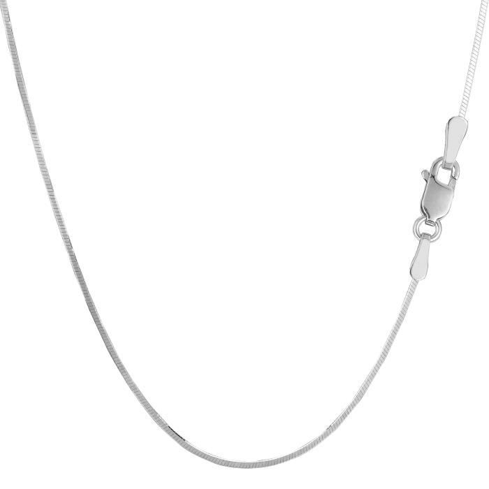 Collier- Argent sterling Rhodium plaqué octogonale Snake Chain , 1, 2mm, 16