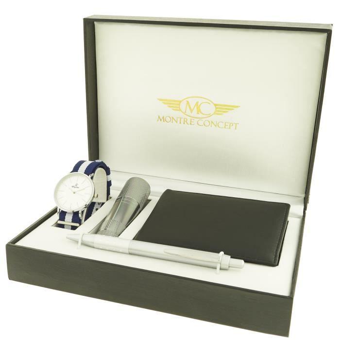 9df7fc9131c3a Montre-Concept - coffret cadeau montre Homme avec lampe de poche ,  portefeuilles et stylo : CLP-1-0082
