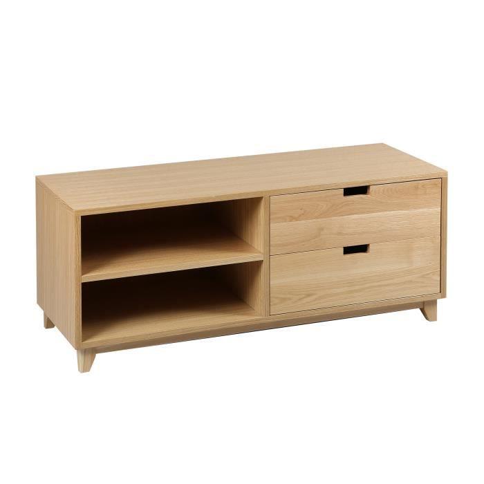 meuble tv 2 niche 2 tiroirs en chne massif trendy