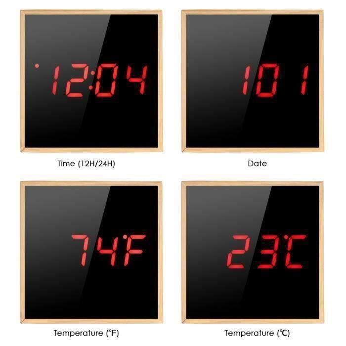Led Réveil En Bois Affichage Numérique Avec Contrôle Du Son Horloge , Alimenté Par Usb Ou Batterie - Forme Cube Rouge Mot