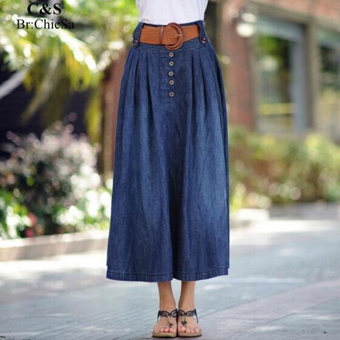 femmes mode jeans jupe longue nouvelle arrivee en vrac grande taille printemps t jupe bouton. Black Bedroom Furniture Sets. Home Design Ideas
