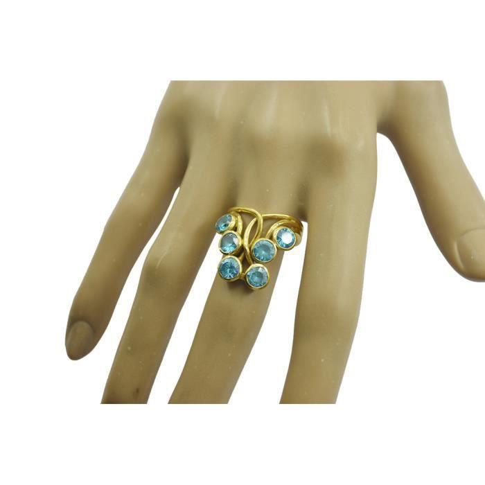 anneau bleu topaze cz - anneau bleu - Bague en or plaqué - bague plaqué or bleu