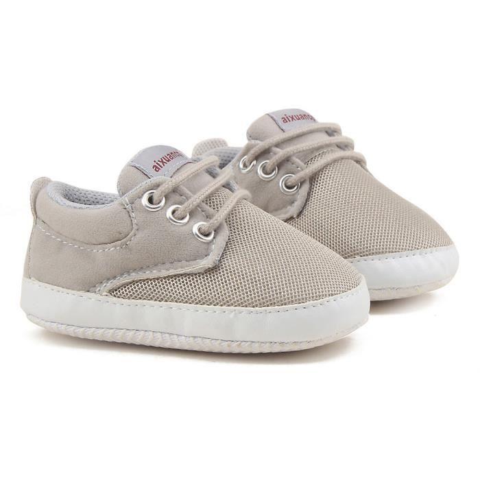 Tout-petits filles garçons dentelle Chaussures de lit prémarcheur semelle douce espadrilles blanc S1AWjSKH