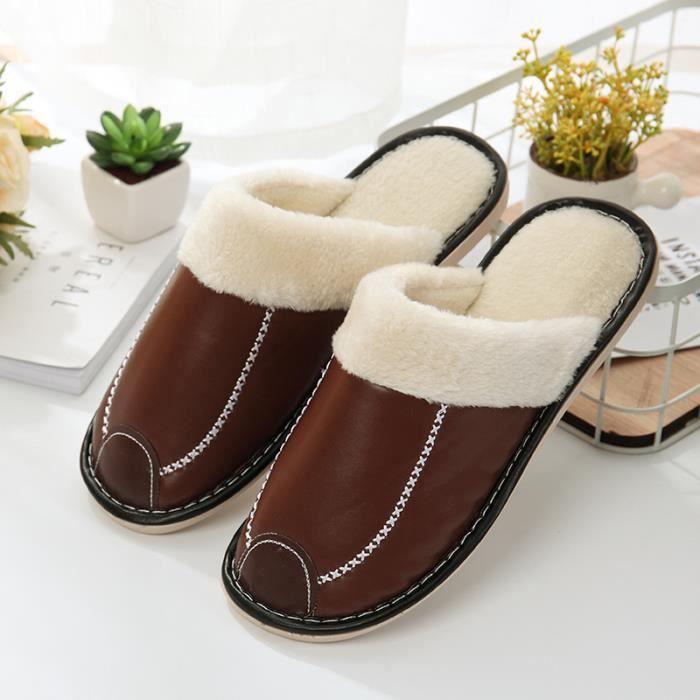 1 Paire Hommes Femmes Hiver PU Cuir Couple Chaussons Pantoufles De Coton Chaussures Chaudes De Maison Epaississement Anti-Dérapant