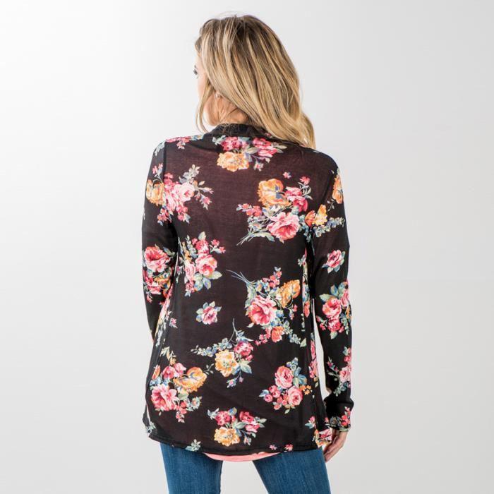 Femmes Recouvrir Vrac Haut Imprimer Boho Noir Cardigan Kimono Chemisier Feitong Châle Floral Bx414dz